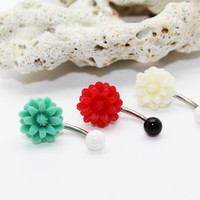 Belly button ring,Cute flower daisy belly ring,Navel ring,Rose piercing belly ring, Flower friendship gift