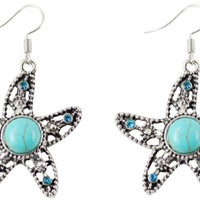 Starfish Faux Turquoise Earrings
