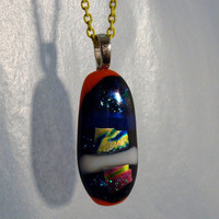 Dichroic Pendant - Fused Glass - Jelly Bean - Pendant - Dichroic - Glass Jewelry - Fused Glass Pendant - Art Glass - Dichroic Jewelry