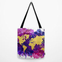 Pop of Color Gold World Map Tote Bag