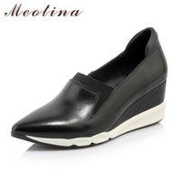 Meotina Genuine Leather Women Shoes Platform Wedge Heels Full Grain Leather Shoes Pointed Toe Wedges Shoes Ladies Career Pumps
