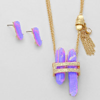 Purple Quartz Rock Pendant Necklace & Earring Set