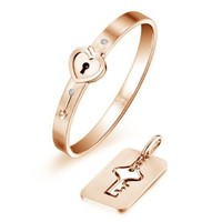 Gold Plated Titanium Lock and Key Cuff Bracelet with Crystal Cubic Zirconia CZ