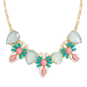 Floral Jeweled Bib Necklace in Mint