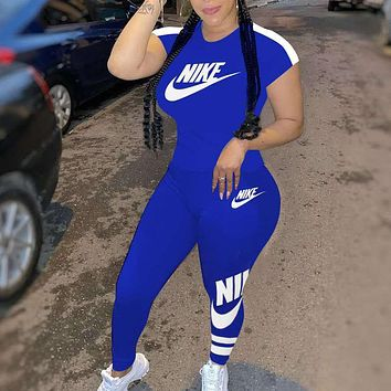 Onewel NIKE Ladies fashion printed casual suit Letters Print Two Piece Suit Blue