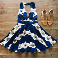 A Floral Party Dress in Royal Blue