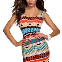 Amour - Ladies Aztec Print Celeb Inspired Tank Dress Bodycon (One Regular Size, Blue)