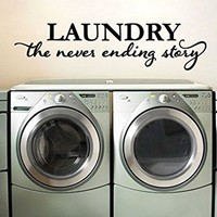 """Lucky Girl Decals Laundry The Never Ending Story Vinyl Wall Decal Sticker Washer Dryer Room 24.3"""" w x 6"""" h"""