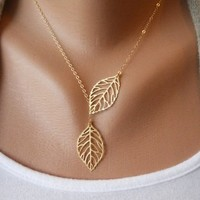 simple fashion leaf necklace-yellow