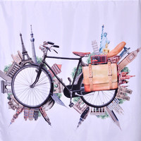 """72"""" x 72"""" Travel By Bicycle Shower Curtain"""