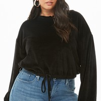 Plus Size Velvet Tie-Front Sweater