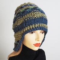 Womans blue & green knit hat, Warm winter hat, Crocheted helmet hat, Ready to ship, OOAK handmade hat, Striped cold weather hat, Chunky knit