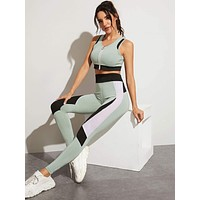 Zip-up Tank Top & Contrast Mesh Sports Leggings