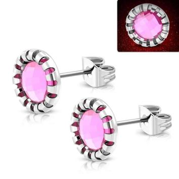 Aurora Borealis Glass Button 9mm Stud 316 Stainless Steel Earrings