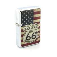 Windproof Customized Chrome Oil Lighter - Route 66 American Flag - Collectable, Refillable, Damn Cool. :)