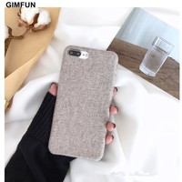 Gimfun Latest Winter Soft Cotton Fabric Phone Case Simple Business Soft Tpu Case for Iphone X 6 6s 7 8 8plus Back Cover Fundas