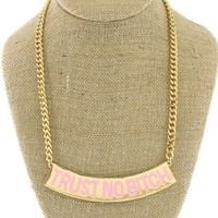TRUST NO BITCH STATEMENT CHAIN NECKLACE WOMEN URBAN HIP HOP PINK GOLD PENDANT