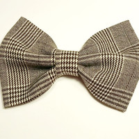 Tweed Hair Bow • Women's Workwear • Brown and Black Hair Bow • Suiting Fabric Bow • Office Accessories • Gifts For Women • Teacher's Gifts