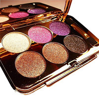 TF-Duan Womens Elegant Ladies Waterproof 6 Colors Make UP Glitter Eyeshadow Palette with Brush and Mirror (Color 1)