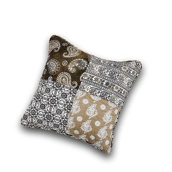 """DaDa Bedding Set of 2 Bohemian Patchwork Moroccan Paisley Dreams Throw Pillow Covers, 18"""" (JHW885)"""