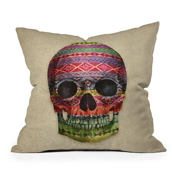 Terry Fan Navajo Skull Throw Pillow