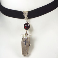 Vampire Choker Necklace with Bat & Coffin Pendants on Black Velvet Ribbon Goth Jewelry