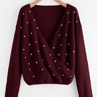 Burgundy Surplice Wrap Jumper With Pearl Beading