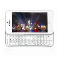 Portable Sliding-out Bluetooth Wireless keyboard with Backlit for Apple iPhone5/5S (White)