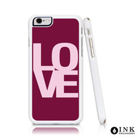 LOVE Cell Phone Case in pink, Maroon, Red. Hard Plastic for iPhone6 / 6plus, iPhone5, Galaxy s5, or Galaxy s6. Abstract Modern Typography