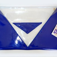 piiqshop - Market Place - Parlement blue patent leather transparent PVC clutch hand bag