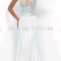 2017 white crystal mesh halter mermaid prom dresses sexy party dress free shipping