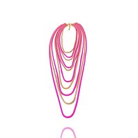 Box Chain Two Tone Cascading Long Necklace