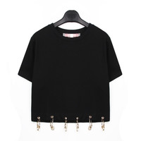 Safety Pin Boxy Crop Top