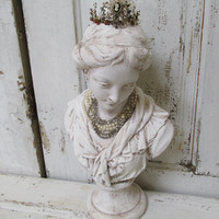 French girl Bust statue shabby chic hand painted French Nordic sculpture handmade crown with jewelry anita spero