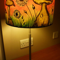 Dandelion Clock & Mushroom, Hand Silk Painted Lamp Shade, 30cm Drum, Made To Order.