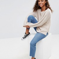ASOS PETITE Jumper With Slash Neck In Boucle Yarn at asos.com