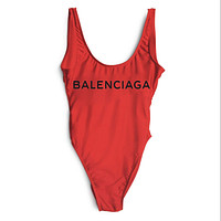 Balenciaga 2018 New Women's Sexy Siamese Bikini Swimsuit F-ZDY-AK red