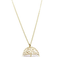 NECKLACE / TREE OF LIFE / CUTOUT METAL PENDANT / LINK / CHAIN / 18 INCH LONG / 1 1/4 INCH DROP / NICKEL AND LEAD COMPLIANT