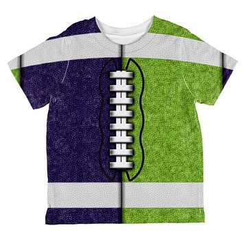 Fantasy Football Team Navy and Electric Green All Over Toddler T Shirt