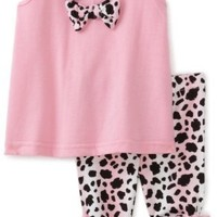 Babytogs Baby-girls Infant Jersey Tunic With Bows Leopard Print Capri Legging