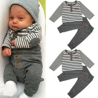 Newborn Baby Boys Long Sleeves Stripe Tops+Pants Infant Outfits Clothes Sets Newborn Baby Boy Clothes