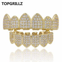 TOPGRILLZ Hip Hop Grillz Teeth Caps Gold Color Plated Luxury Micro Pave CZ Stones Top & Bottom Teeth Grills Set Ship From US