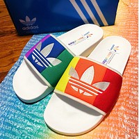 Adidas ADILETTE PRIDE New fashion embroidery leaf couple hit color shoes flip flop slippers