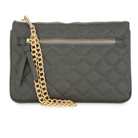 Quilted Faux Leather Clutch Gray