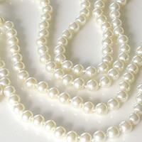 Long Pearl Necklace Vintage White Pearls Opera Length Pearls