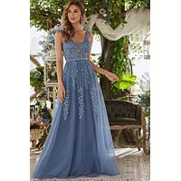 Robe Tulle Prom Dresses Long Women Ever Pretty Elegant A Line V Neck Lace Applique Formal Wedding Party Dress