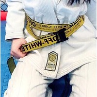 OFF-WHITE Classic Hot Sale Black Word Canvas Belt Yellow