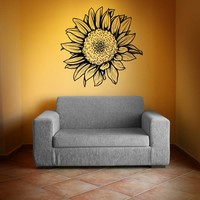Vinyl Wall Decal Sticker Sunflower #1069