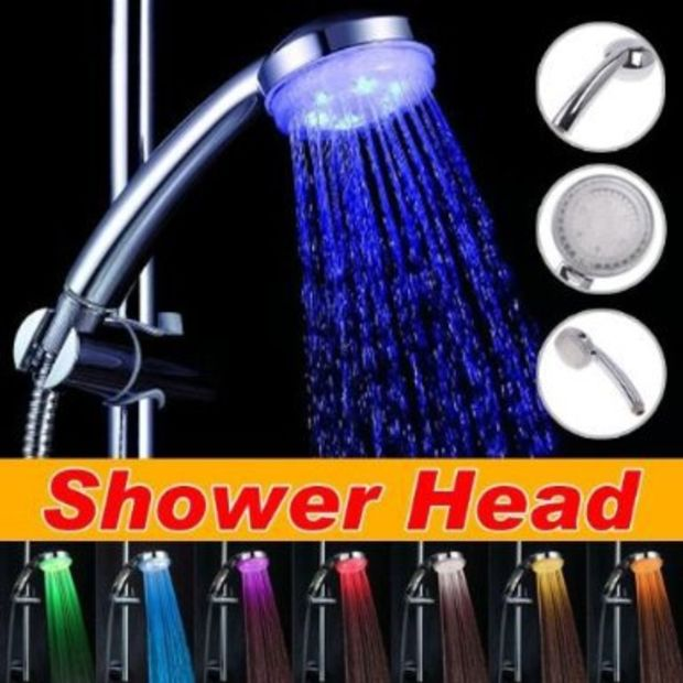 Colorful Led Shower Head 7-color Changing Shower Head No Battery Led Waterfall Shower Head Round Bathroom Accessories Showerhead Exquisite Traditional Embroidery Art Shower Heads Home Improvement