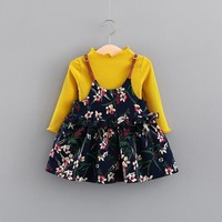 kids winter clothes for girls Long sleeve knit tops +Condole belt floral dress suits toddler girl clothing sets wedding outfits